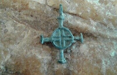 "RARE MEDIEVAL ""VIKING"" CELTIC-STYLE ""SUN"" CROSS BRONZE PENDANT 10-13th CENTURY"