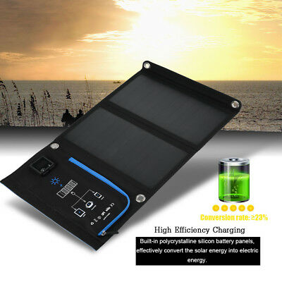 Portable Dual USB Port Solar Charger Foldable Waterproof Panel Fast Charging 15W