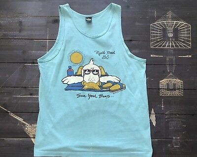 Vintage 80s T Shirt Large Mens Tank Top Blue Sleeveless Top Tee Duck Graphic