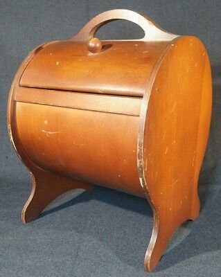 """Vintage Round Wooden Sewing Box with Attached Thread Shelf  12 1/5"""" x 8 1/2"""""""