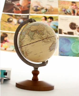 "5.5"" Rotating Wood World Globe Educational Model Vintage Reference Atlases Map"