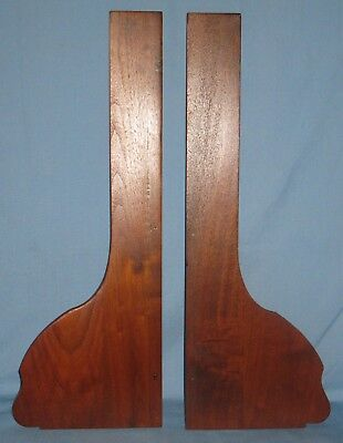 "ANTIQUE PAIR of LONG SOLID BURL WALNUT BRACKETS FOR WALL SHELF 24""H x 8 3/4""W"