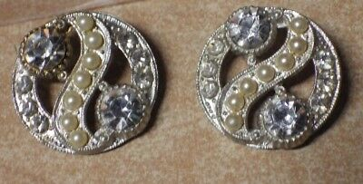 Pair Of Antique Ornate Pearl & Rhinestone Silvertone Buttons Pics
