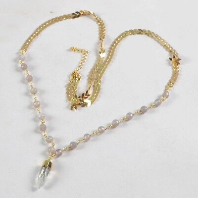 """31"""" White Quartz Faceted Point & 6mm Grey Agate Necklace Gold Plated H126745"""
