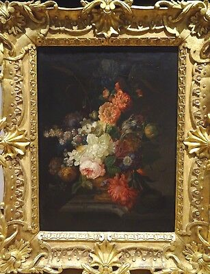 Large 17th Century Dutch Old Master Flowers Insects Still Life Rachel RUYSCH
