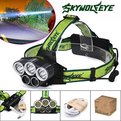 Super-bright 90000LM LED Headlamp 5X T6 Headlight Torch Rechargeable Flashlight