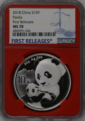 NGC MS70 2019 China 30g Silver Panda Coin First Releases #10