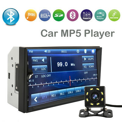 "7"" Inch Car Stereo Mp5 Player Touch Screen Bluetooth Radio 2din HD Rear Camera"