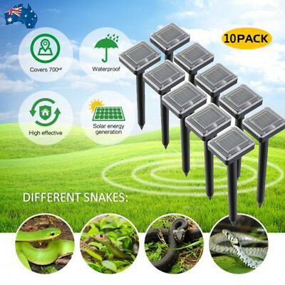 10x Snake Repeller Solar Powered Ultrasonic Mole Mice Pest Rodent Rat Repellent