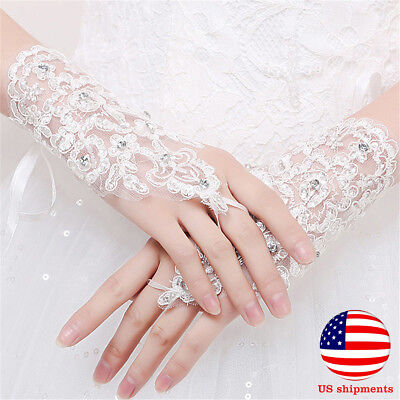 1pair Party Fingerless Lace Short Paragraph Rhinestone Bridal Wedding Gloves