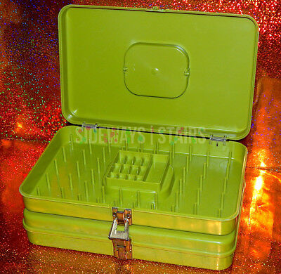 WIL-HOLD AVOCADO GREEN STORAGE CASES sewing accessory box vintage olive 60s 70s