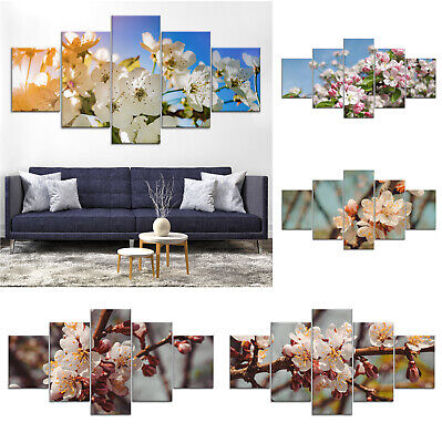 Apple Tree Blossom Flowers Canvas Print Painting Home Decor Wall Art Poster 5Pcs