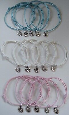 x5 BABY SHOWER GIFTS PARTY PRIZES BABY FEET CHARM BRACELETS MUM TO BE FAVOURS