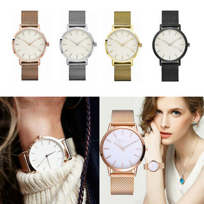 Women Ladies Watch Wristwatch Geneva Large Face Stainless Steel Meshband Casual
