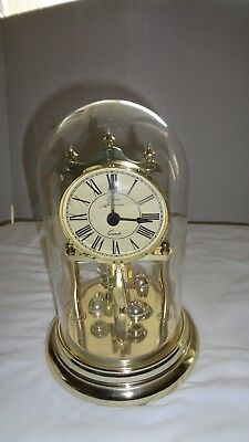 Elgin American Quartz Anniversary Clock with Glass Dome working