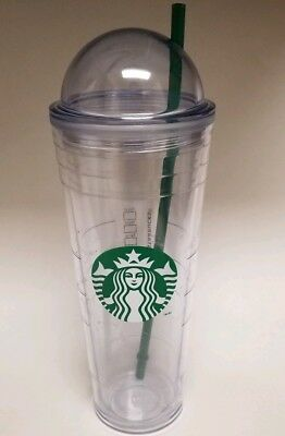 Starbucks Venti Clear Double Wall Acrylic Cold Cup Tumbler 24 oz W/ Dome