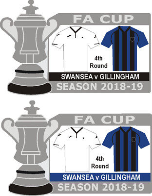Swansea v Gillingham 4th Round Cup Match Badge 2018-19