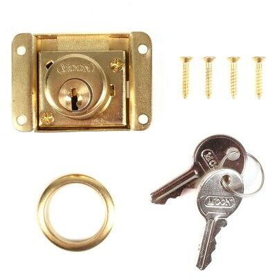 DRAWER LOCK KIT Brass Office Desk Cabinet/Cupboard Door Latch/Catch Key Locker