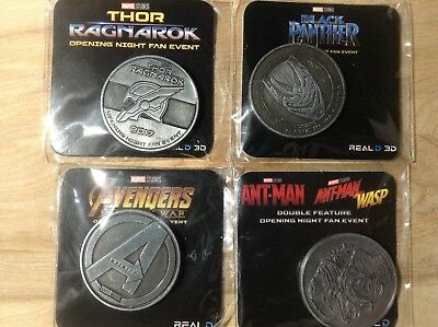 Marvel Opening Night Event Coins - Thor, Black Panther, Avengers, Antman & Wasp