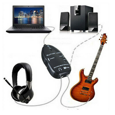 USB Guitar to Laptop PC Interface Link Stereo Audio Cable Recording Adapter