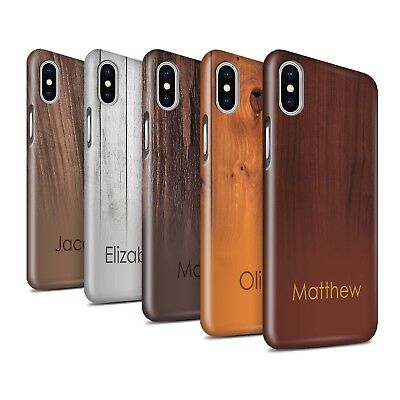 Personalised Custom Wood Grain Effect Gloss Case for Apple iPhone XS/Initial