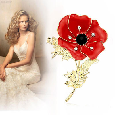 3E01 Red Poppy Brooch Pin Banquet Crystal Badge Gold Flower Remembrance Fine