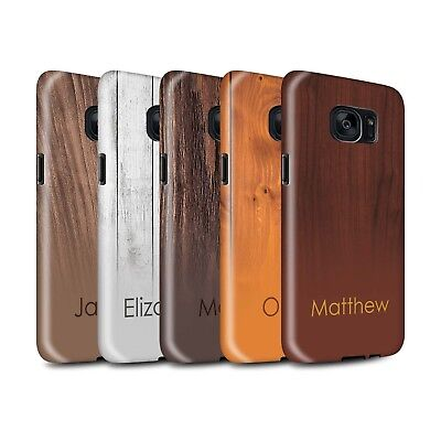 Personalised Wood Grain Effect Gloss Tough Case for Samsung Galaxy S7/G930