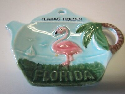 1960's Kitchen Souvenir State Of Florida Pink Flamingo Teapot Teabag Holder