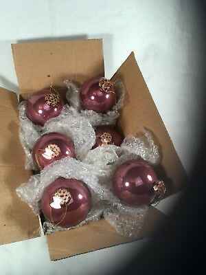 "3"" Ball Ornament By WC Glass OR4316 Opal Vintage Plum Set Of 6 Six"