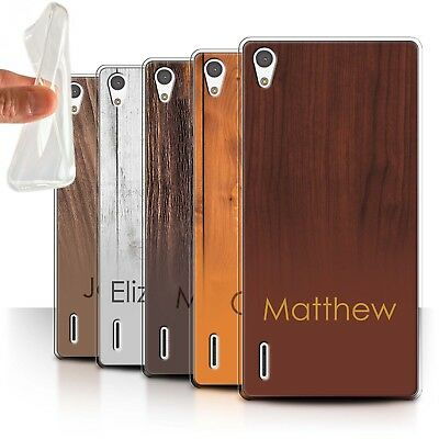 Personalised Custom Wood Grain Effect Case for Huawei Ascend P7 LTE/Initial Gel