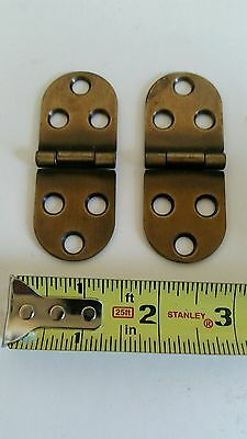 Nice Pair Of Vintage Looking Brass Plated Desk, Cabinet Or Table Oval Hinges Eb