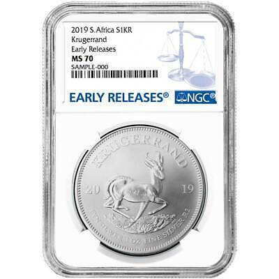 2019 South Africa Silver Krugerrand 1oz NGC MS70 Blue ER Label