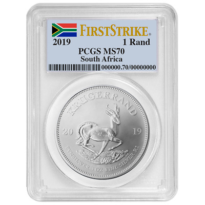 2019 South Africa Silver Krugerrand 1oz PCGS MS70 First Strike Flag Label
