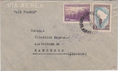 Argentina-1937 Air France flown 1.40 Pesos on Buenos Aires airmail lettercover