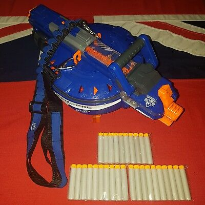 Nerf Elite Hail Fire Blaster Gun 4 x 6 Clips 30 Darts Bandolier Strap BUNDLE LOT
