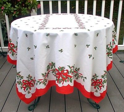 Vintage Christmas Tablecloth Green Red Holly Ribbons