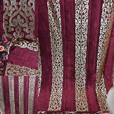 Vintage Cotton Velvet Red And Gold Appliqué PAnel  Ideal Projects Bedcover