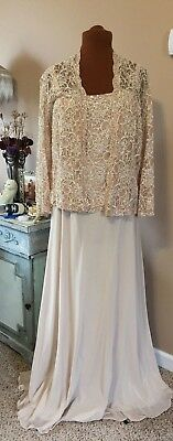 Karen Miller New York Ivory Lace Chiffon 2 Piece Evening Gown Size 14W