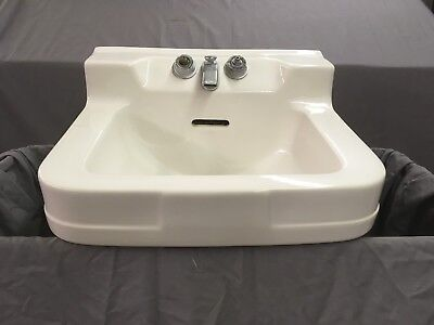 Vtg Ceramic White Porcelain Bath Wall Sink Shelf Back Crane Oxford Old 03-19E