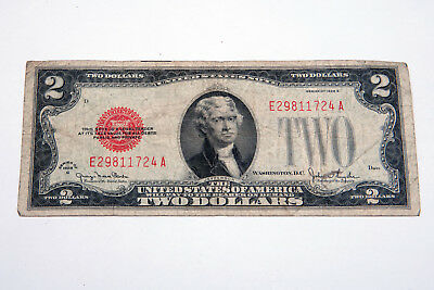 Series of 1928 G Red Seal Two Dollar Bill