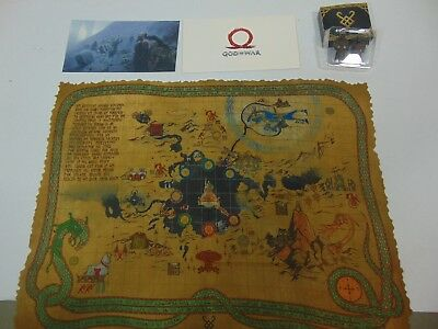 God of War 4 Collectors Edition Cloth Map Lithograph Huldra Brother Carvings PS4