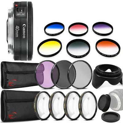 Canon EF 40mm f/2.8 STM Lens with Top Accessory Bundle for Canon DSLR Cameras