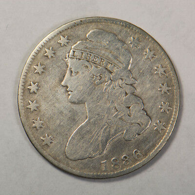 1836 50c CAPPED BUST HALF DOLLAR - LETTERED EDGE - LOT#H042
