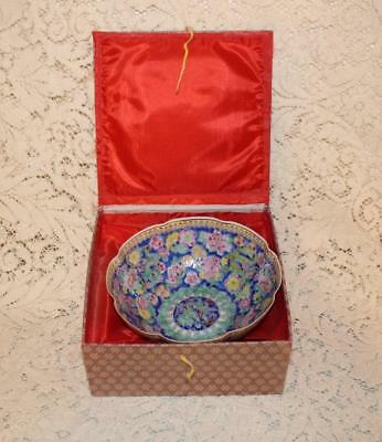 Fine Qing Dynasty Qianlong Eggshell Rose Famille Bowl Dragon Center With Box