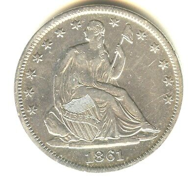 1861 S Seated Liberty Half Dollar XF In Grade Scarce San Francisco Mint Issue