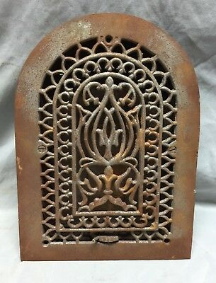 One Antique Cast Iron Arch Top Heat Grate Wall Register 8X12 Dome Vtg 24-19C