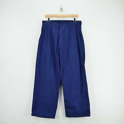 Vintage Workwear Blue French Work Utility Trousers Made in France 32 W 28 L