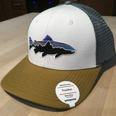 1001d31089c Patagonia Fitz Roy Trout Trucker Hat - New With Tags - White w  Kastanos  Brown