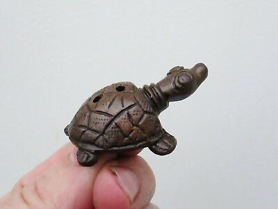 Vintage Chinese Netsuke or Toggle Lucky Turtle Tortoise Statue - Brass or Bronze