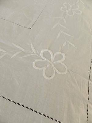 """Antique white cotton bedspread with whitework embroidery. 88"""" x 96"""""""